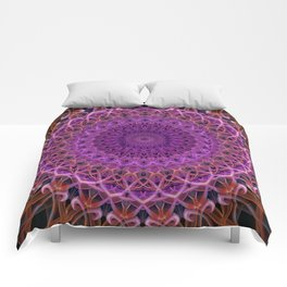 Violet and red mandala Comforters