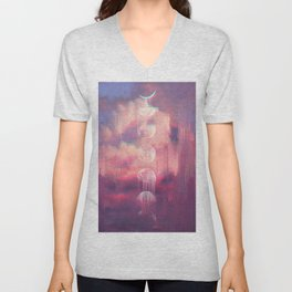 Moontime Glitches Unisex V-Neck