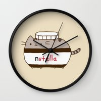 nutella Wall Clocks featuring Nutella Cat by Wis Marvin