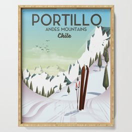 Portillo Ski Chile Ski travel poster. Serving Tray