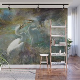 Sibling White Egrets in Fantasy Land Wall Mural