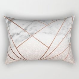 Rose glitter rising geo Rectangular Pillow