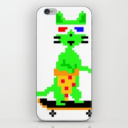 """Psychedelic Skateboarding Pixel Pizza Cat"", by Brock Springstead iPhone Skin"
