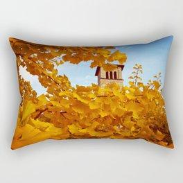 Bell Tower behind Yellow Ginkgo Leaves, blue sky Rectangular Pillow