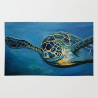 sea turtle Area & Throw Rugs featuring Sea Turtle  by Leanna Rosengren
