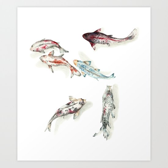 Koi fish watercolour art print by goosi society6 for Koi fish paintings prints