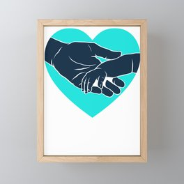 Father's Day New Dad Holding Hands with Baby Framed Mini Art Print