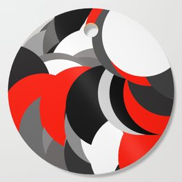 black white grey red geometric digital art Cutting Board