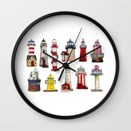 Watercolor lighthouses of world Wall Clock