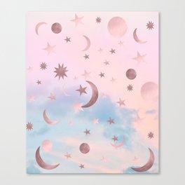 Pastel Starry Sky Moon Dream #2 #decor #art #society6 Canvas Print