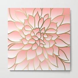 Floral Prints, Line Art, Coral Pink and Gold, Arts Prints Metal Print