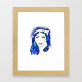 Blue Hair Don't Care Framed Art Print
