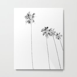 Minimal Black and White Palm Trees Metal Print
