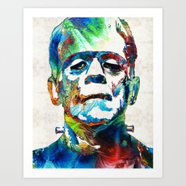 Frankenstein Art - Colorful Monster - By Sharon Cummings Art Print