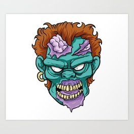 Zombie Horror Undead Gift Art Print