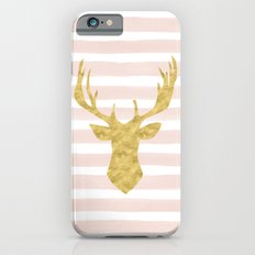 Pink Watercolor Stripes and Gold Deer Slim Case iPhone 6s