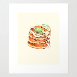 Buttermilk pancakes. Pastry, dessert. Watercolor hand-drawn sketch. Funny character with human face Art Print