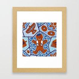 Hanukkah Gingerbread Cookies in Dark Blue Framed Art Print