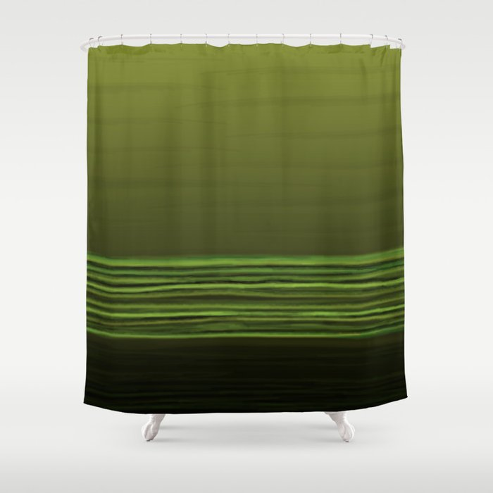 Horizon Olive Green Shower Curtain
