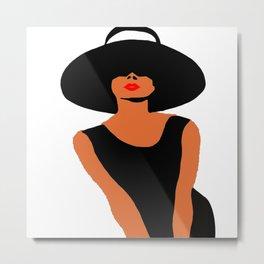 Audrey Hepburn Hat Fashion Portrait  Metal Print