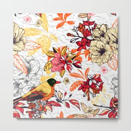 Floral Bird Beauty Metal Print