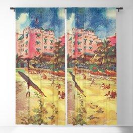 Hawaii's Famous Waikiki Beach landscape painting Blackout Curtain