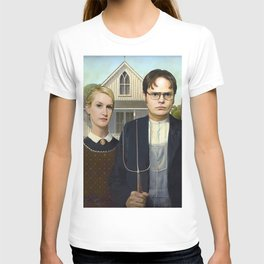 Dwight and Angela from the The Office in American Gothic T-shirt