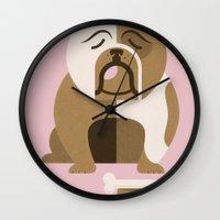 bulldog Wall Clocks featuring Bulldog by Jude Landry