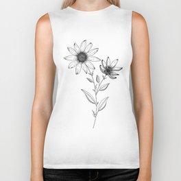 Wildflower line drawing | Botanical Art Biker Tank