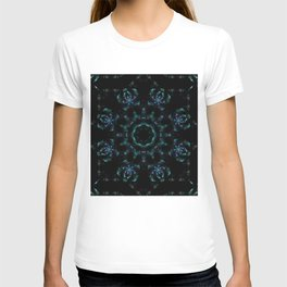 FRACTAL KALEIDOSCOPE BLUE FLOWERS T-shirt