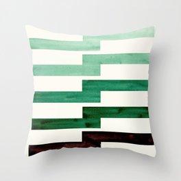 Teal Aquamarine Green Watercolor Gouache Geometric Pattern Zig Zag Lightning Bolt Shaped Mid Century Throw Pillow