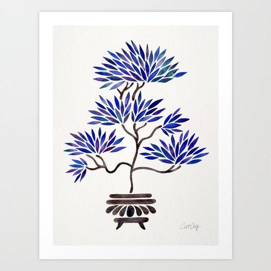 Bonsai Tree – Navy Palette Art Print