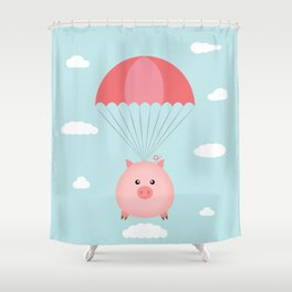Baby Pig in a Parachute Shower Curtain