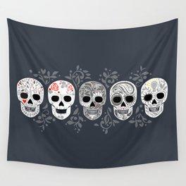 Celebracion de Gris_Calaveras Sugar Skulls line_RobinPickens Wall Tapestry