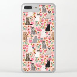 Cat floral mixed breeds of cats gifts for pet lovers cat ladies florals Clear iPhone Case