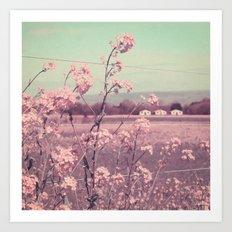 Sweet Spring, Teal Sky, Soft Pink Wildflowers, Rural Cottage Art Print