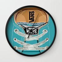 vans Wall Clocks featuring Cute blue teal Vans all star baby shoes iPhone 4 4s 5 5s 5c, ipod, ipad, pillow case and tshirt by Three Second