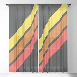 3 Retro Stripes #3 Sheer Curtain