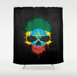 Flag of Ethiopia on a Chaotic Splatter Skull Shower Curtain