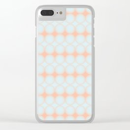 Pastel Pattern Dots and Gradient Baby Blue and Peach Orange Clear iPhone Case