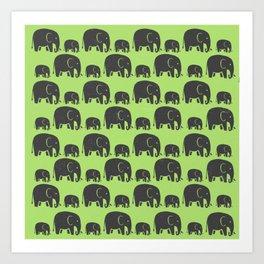 Elephant Wild Green Art Print