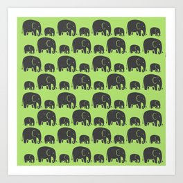 Elephant Wild Green Art Print