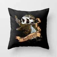 hufflepuff Throw Pillows featuring Hufflepuff by Markusian