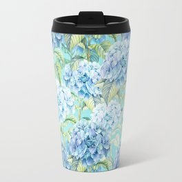 Blue floral hydrangea flower flowers Vintage watercolor pattern Travel Mug