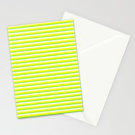 Banana and Lime Yellow and Green Stripes Stationery Cards