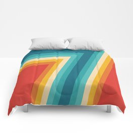 Colorful Retro Stripes  - 70s, 80s Abstract Design Comforters