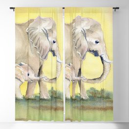 Colorful Mom and Baby Elephant 2 Blackout Curtain