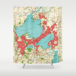 Vintage Map of Madison Wisconsin (1959) Shower Curtain