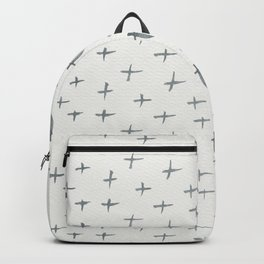 Abstract hand painted black white watercolor crosses Backpack