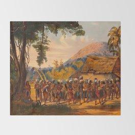 Caribi Village Anai Illustrations Of Guyana South America Natural Scenes Hand Drawn Throw Blanket